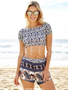 Slash Neck Crop Top And Ethnic Print Shorts Suit BLUE: Shorts | ZAFUL