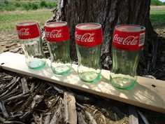 Juice Glasses made from Upcycled Coca Cola Glass Bottles 6oz Set of 4