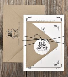Black and White Rustic Wedding Invitations | Smitten On Paper. I like these invites.