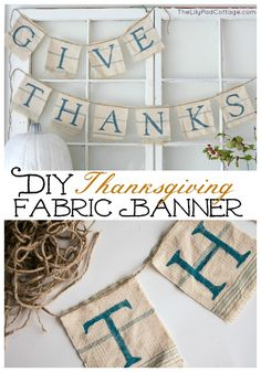 This is so pretty, I think I'd leave it hanging up all year long. DIY Fabric Thanksgiving Banner -Momo