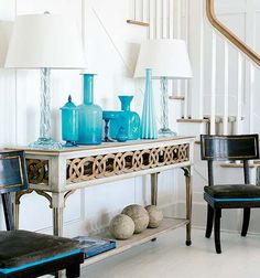Suzanne Kasler Design | Entryway | Opaline Glass | Southern Accents Magazine Decorator Show House | Watersound | FL Panhandle