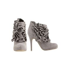 Faux Suede Ruffle Bootie - Teen Clothing by Wet Seal ($30) ❤ liked on Polyvore