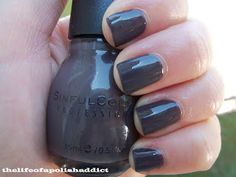 Ocotber 2012 : Sinful Colors Enchanted collection in the color : Muse. This is a cream stormy grey brown. It is just amazing in person this picture doesnt do this Winter brown justice!  2 coats for bottle color 3 coats to even it out.  photo from: the life of a polish addict