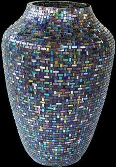 """Acorn Vase-Confetti"" in Nantucket Basket pattern (17 colors mixed) - 16"""