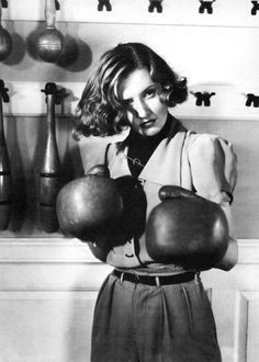 my-ear-trumpet:  sandyglass:  Barbara Stanwyck in The Golden Boy (1939)  Preparing for some Physical Culture