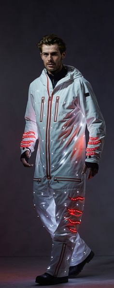 Light up the pistes, or the chalet dance floor, at night in this state of the art ski jumpsuit studded with fully-functional LED lights from Bogner. The future is now.