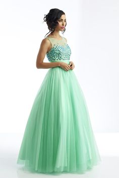$128.69 - Magnificent Scoop V Back Tulle Prom Dress Floor Length Rhinestone Beaded Bodice Mint for sale