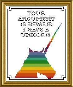 unicorn meme | Unicorn meme cross stitch pattern | Cross stitch
