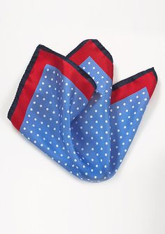 Polka Dot Silk Pocket Square in Light Blue and Red, $19.90 | Cheap-Neckties.com