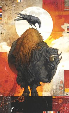 A Craig Kosak painting of the native american totem animals, bison and raven « « Mayhem & Muse