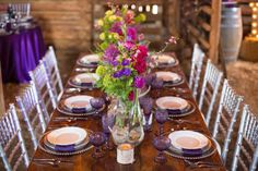 Rustic Barn Wedding with Elegant Blackberry Details - www.theperfectpalette.com - Sarah Roshan Photography, Designed by Pick Me Weddings, Florals by Southern Charm Wedding and Events