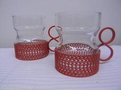 Iittala Timo Sarpaneva 2 * Vintage Tsaikka red clips clear glass Finland RARE