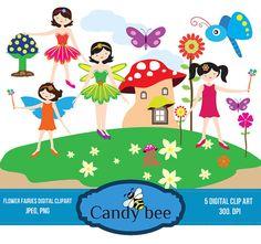 Flower Fairies Digital Clipart Spring Time Fairies clip art fairies clipart, butterfly, flowers, mushroom clipart SAJ-236