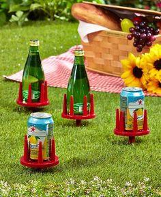 Set of 4 Beverage Holders - Lawn Beach Beverage Holder Stake's - RED #Unbranded