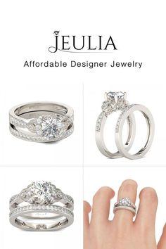 Milgrain Flower Design Round Cut Created White Sapphire Wedding Set - Jeulia Jewelry