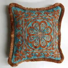 Cross Stitch Cushion, Poufs, Neutral, Fashion Dresses, Teal, Cushions, Tapestry, Throw Pillows, Embroidery