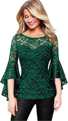 Stylish Tops, Casual Tops For Women, Stylish Dress Designs, Stylish Dresses, Classy Outfits, Casual Outfits, Lace Ruffle, Lace Dress, African Fashion Dresses