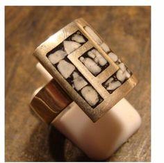 anillo diseño calado plata 925, calado soldado, reconstituido