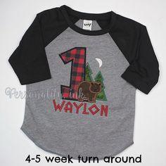Lumberjack Birthday Raglan Shirt First Birthday by personalityink