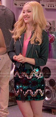 Liv's sequined mini skirt on Liv and Maddie. Outfit Details: https://wornontv.net/60180/ #LivandMaddie