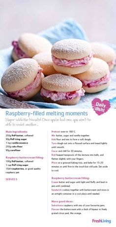 desserts - PRECIOUS MOMENTS Create a beautiful memory share these raspberryfilled biscuits with your mom on Mother's Day dailydish mothersday picknpay freshliving Baking Recipes, Cookie Recipes, Dessert Recipes, Biscuit Cookies, Biscuit Recipe, Baking Cookies, Sandwich Cookies, Just Desserts, Delicious Desserts