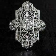 0.62ct RETRO OLD EURO DIAMOND VINTAGE ART DECO FILIGREE SOLITAIRE 14K RING, $995.00