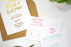 Colorful and Gold Foil Hand Lettered Wedding Invitations by Goodheart Design / Oh So Beautiful Paper