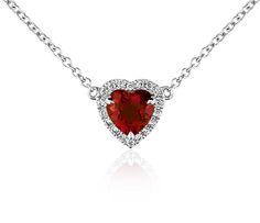 Heart-Shaped Garnet and Diamond Pendant in 18k White Gold