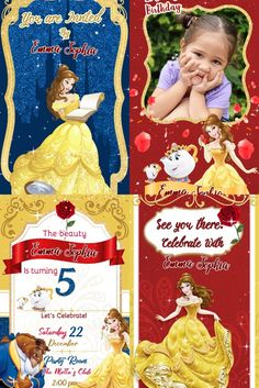 Your guests will like this Electronic Video Card Invitation Princess Beauty and the Beast we personalize it for you with your data, surprise them Electronic Cards, Electronic Invitations, Tiana, Ariel, Princess Beauty, Disney Beauty And The Beast, Video Card, Lets Celebrate, Social Networks