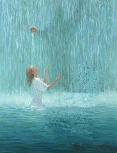 Living Water prophetic art painting with woman worshiping the Lord and Jesus with His hand stretched out from behind the waterfall. Jesus Christus, Saint Esprit, Bride Of Christ, Prophetic Art, Jesus Art, Biblical Art, Living Water, Jesus Pictures, Jesus Is Lord