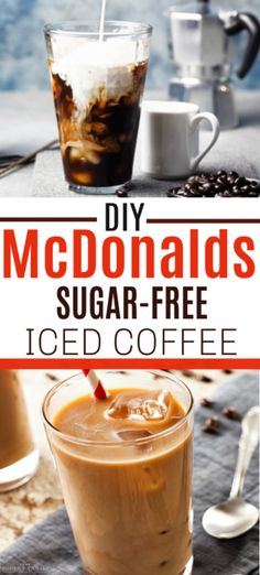 This DIY sugar-free iced coffee recipe is great. It's so easy to make from home with these directions & it tastes EXACTLY like the Mcdonald's Sugar-Free French Vanilla Iced Coffee Healthy Iced Coffee, Homemade Iced Coffee, Iced Coffee At Home, Best Iced Coffee, Iced Coffee Drinks, Easy Coffee, Coffee Coffee, Smoothies Coffee, Coffee Life