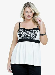 Lace detailed black and white cami