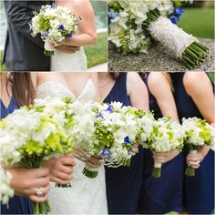 Green, blue and white wedding bouquets! Click to view the entire wedding!