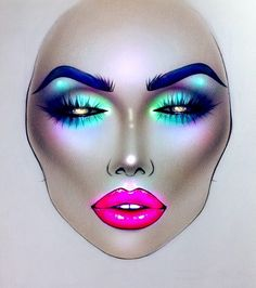 Pɪитєяєsт: ʗιɴɗɛяɞɛʟʟα Rave Makeup, 80s Makeup, Body Makeup, Makeup Inspo, Makeup Inspiration, Makeup Goals, Makeup Ideas, Mac Face Charts, Makeup Face Charts