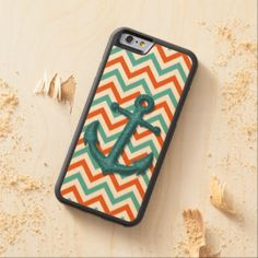 Nautical Zigzag Chevron Pattern Faux Metal Anchor Carved® Maple iPhone 6 Bumper