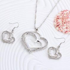 Romantic Heart Pattern Crystal Earrings, Necklace Set