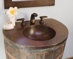 Antik fürdőszobai mosdó régi boroshordó felhasználásával -2