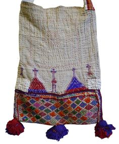 """A Large """"Boro"""" Indian Cotton Bag: Embroidery and Recycling Textiles, Boho Bags, Boro, New Bag, Cotton Bag, Unique Outfits, Cloth Bags, Lace Knitting, Handmade Bags"""