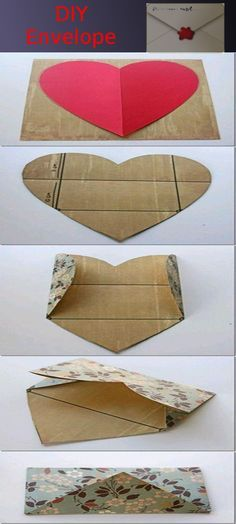"""As said by another pinner, """"DIY envelope- I love this because there are times when I can't find the right size envelope or I want different colors or patterns. Now I can just do it myself then trying to look for it in the store and I love that it starts with a heart shape. super easy"""""""