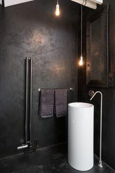 moody black bathroom