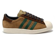 New Adidas Superstar 80s Brown Green Suede Trainers