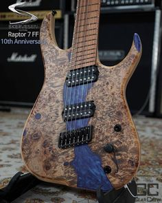 "Skervesen Custom Guitars on Instagram: ""Skervesen Raptor 7 FF 10th Anniversary Limited Edition Crystal Resin on Poplar Burl top. I named this guitar ""A river run through it""…"""