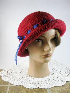 Scarlet Red Crochet Hat/Fedora/Handmade/Crochet Fedora by Shorah