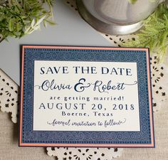AChinese indigo save the date - a classic royalblue and white frame with coral and metallic navy blue accents. As shown, this save the date is composed of three layers of heavy card stock: the printed (top) layer, a middle coral cover stockand a base layer of metallic navy cover stock.  Sold in sets of ten (if you need 20 save the dates, order two sets, and so on).  Included with each save the date:  -digital proofing via email  – 3 1/2″ x 4 7/8″ three layered save the date  -one…