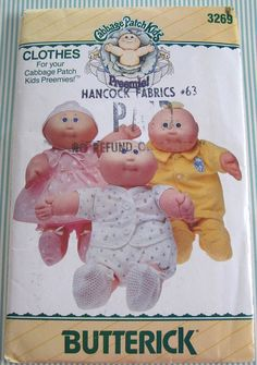 Butterick Sewing Pattern 3269 Cabbage Patch Preemies Clothes