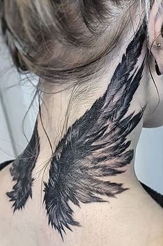 we have collected 100 angel wings tattoos with different designs on different body parts for you to choose the perfect design for your next ink. Dope Tattoos, Badass Tattoos, Pretty Tattoos, Beautiful Tattoos, Body Art Tattoos, Sleeve Tattoos, Tribal Neck Tattoos, Indian Skull Tattoos, Tattoos Skull
