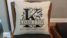 Wedding throw pillow regal split font