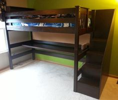 loft beds with desk   Bunk & Loft Factory - Solid Wood Twin Loft Bed with Desk and Stairs ...