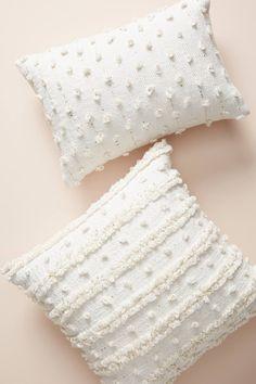 White Pillows by Anthropologie, Woven Landon Pillow White Throw Pillows, Cute Pillows, Diy Pillows, Boho Pillows, Accent Pillows, Pillows On Bed, Colorful Throw Pillows, White Decorative Pillows, White Cushions