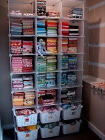 Sewing organization small space fabric storage 64 Ideas for 2019 Sewing Room Design, Sewing Room Storage, Craft Room Design, Sewing Spaces, Sewing Room Organization, Small Space Organization, Craft Room Storage, My Sewing Room, Sewing Rooms